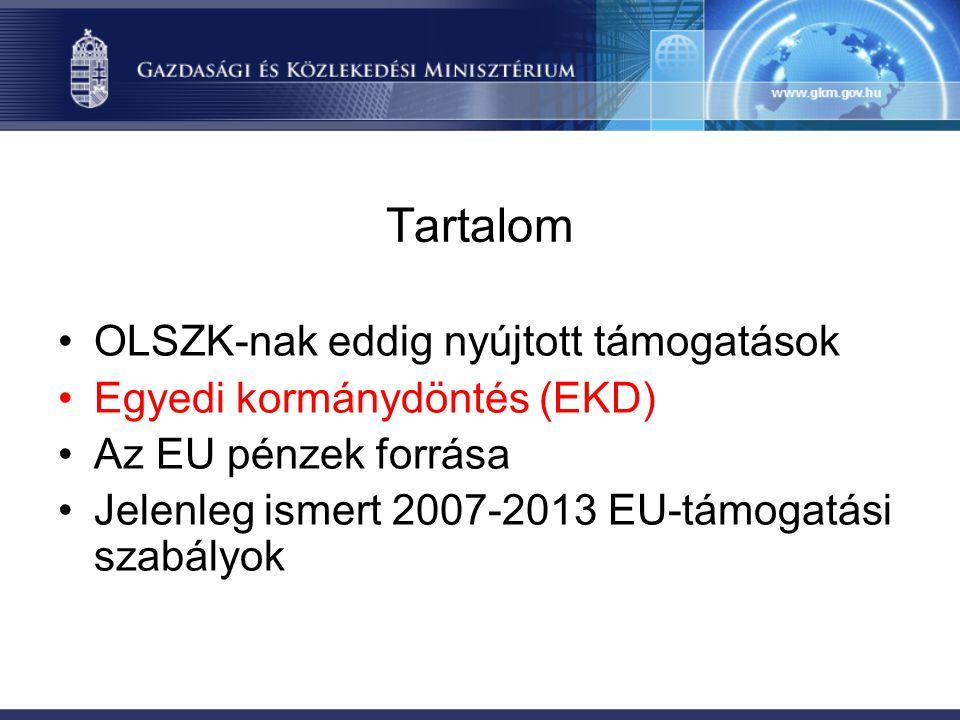 Tartalom •OLSZK-nak eddig nyújtott támogatások •Egyedi kormánydöntés (EKD) •Az EU pénzek forrása •Jelenleg ismert 2007-2013 EU-támogatási szabályok