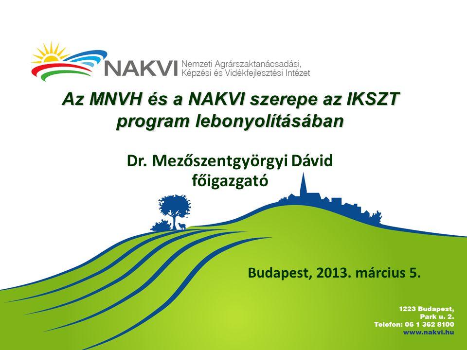 Budapest, 2013. március 5. Az MNVH és a NAKVI szerepe az IKSZT program lebonyolításában Dr. Mezőszentgyörgyi Dávid főigazgató