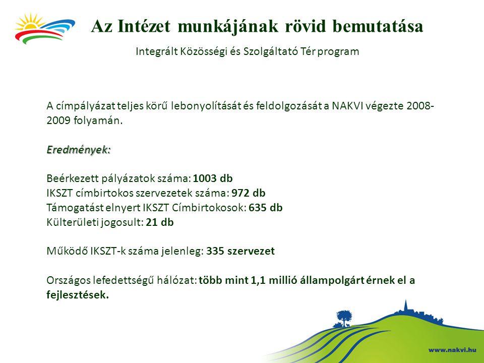 A címpályázat teljes körű lebonyolítását és feldolgozását a NAKVI végezte 2008- 2009 folyamán.Eredmények: Beérkezett pályázatok száma: 1003 db IKSZT c