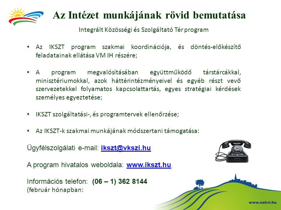 Az Intézet munkájának rövid bemutatása Integrált Közösségi és Szolgáltató Tér program Új feladatok: • IKSZT szakmai beszámolóinak ellenőrzése; • Online szolgáltatástervezési és beszámoló felület üzemeltetése; • Közösségi animátor képzés lebonyolítása; Tomajmonostora Buják