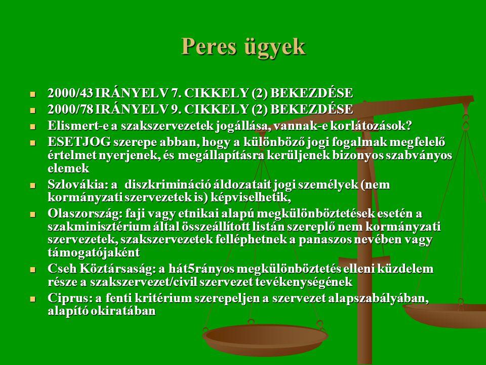 Peres ügyek  2000/43 IRÁNYELV 7. CIKKELY (2) BEKEZDÉSE  2000/78 IRÁNYELV 9.