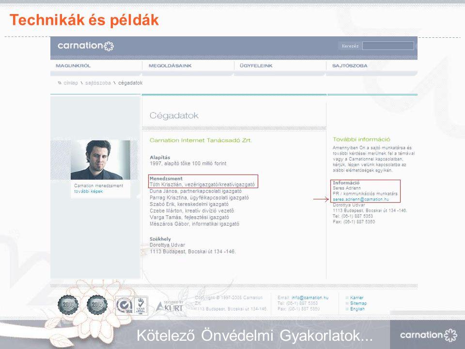 Technikák és példák Kötelező Önvédelmi Gyakorlatok...