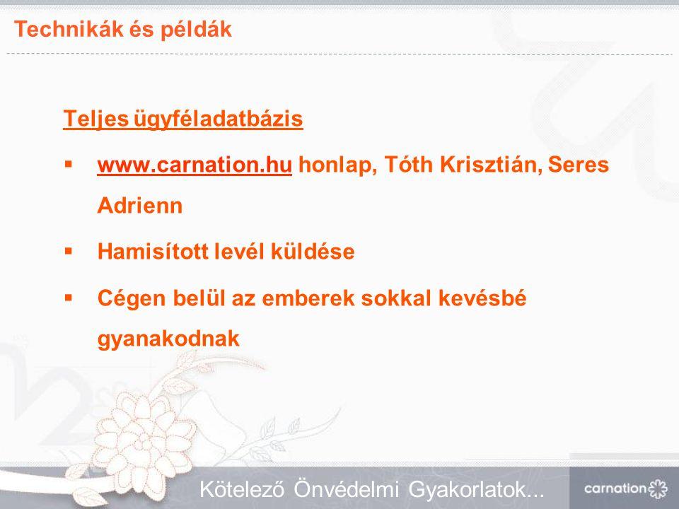 Technikák és példák Kötelező Önvédelmi Gyakorlatok... Teljes ügyféladatbázis  www.carnation.hu honlap, Tóth Krisztián, Seres Adrienn www.carnation.hu