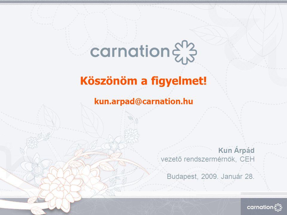 Köszönöm a figyelmet! kun.arpad@carnation.hu Kun Árpád vezető rendszermérnök, CEH Budapest, 2009. Január 28.