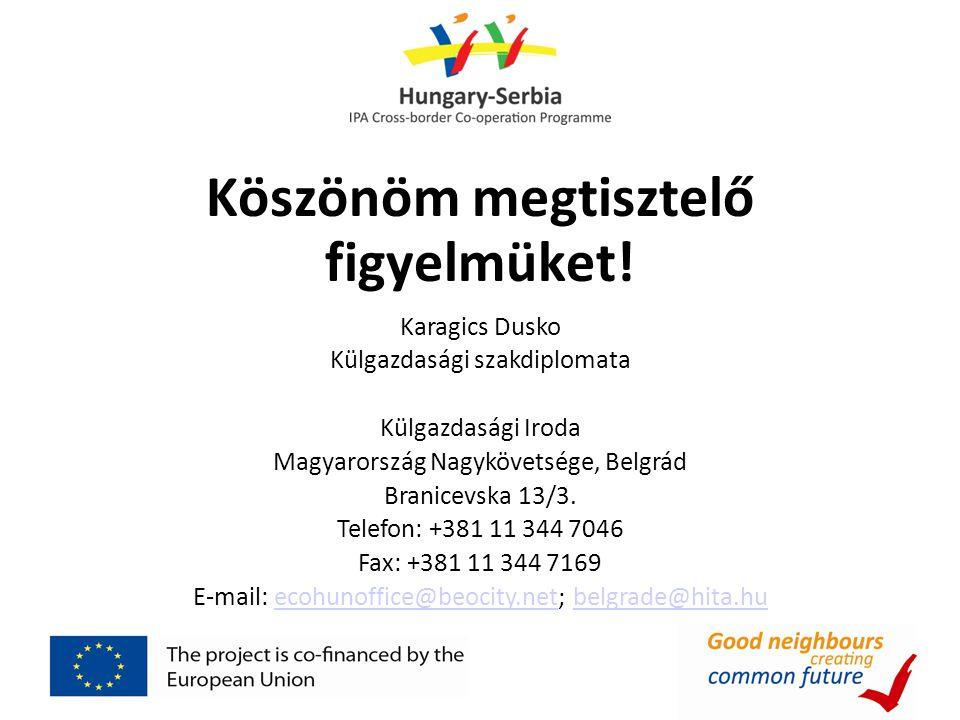 Köszönöm megtisztelő figyelmüket! Karagics Dusko Külgazdasági szakdiplomata Külgazdasági Iroda Magyarország Nagykövetsége, Belgrád Branicevska 13/3. T