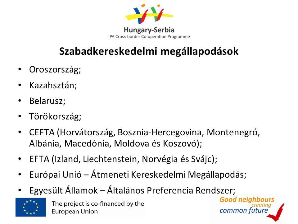 Szabadkereskedelmi megállapodások • Oroszország; • Kazahsztán; • Belarusz; • Törökország; • CEFTA (Horvátország, Bosznia-Hercegovina, Montenegró, Albá