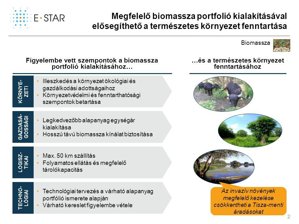 2 Megfelelő biomassza portfolió kialakításával elősegíthető a természetes környezet fenntartása Biomassza Figyelembe vett szempontok a biomassza portf