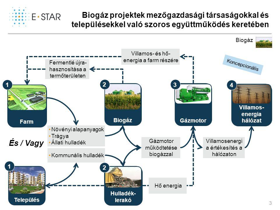 3 Biogáz projektek mezőgazdasági társaságokkal és településekkel való szoros együttműködés keretében Település Koncepcionális Farm •Növényi alapanyago