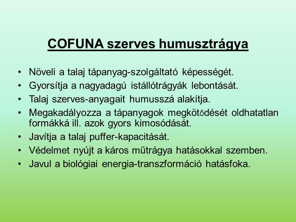 COFUNA szerves humusztrágya •Növeli a talaj tápanyag-szolgáltató képességét. •Gyorsítja a nagyadagú istállótrágyák lebontását. •Talaj szerves-anyagait