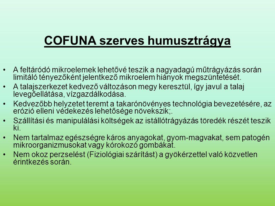 COFUNA szerves humusztrágya •A feltáródó mikroelemek lehetővé teszik a nagyadagú műtrágyázás során limitáló tényezőként jelentkező mikroelem hiányok megszüntetését.
