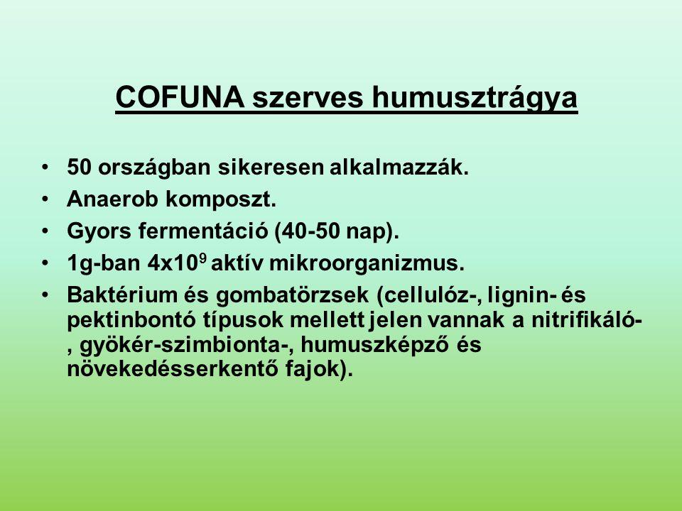 COFUNA szerves humusztrágya •50 országban sikeresen alkalmazzák. •Anaerob komposzt. •Gyors fermentáció (40-50 nap). •1g-ban 4x10 9 aktív mikroorganizm