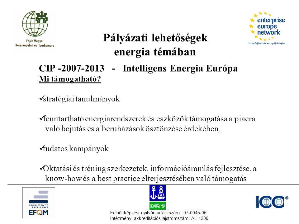 Felnőttképzési nyilvántartási szám: 07-0045-06 Intézményi-akkreditációs lajstromszám: AL-1300 Pályázati lehetőségek energia témában CIP -2007-2013 - Intelligens Energia Európa Mi támogatható.