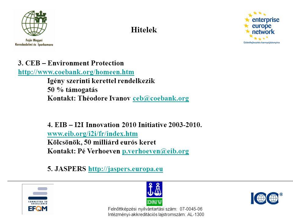 Felnőttképzési nyilvántartási szám: 07-0045-06 Intézményi-akkreditációs lajstromszám: AL-1300 3. CEB – Environment Protection http://www.coebank.org/h