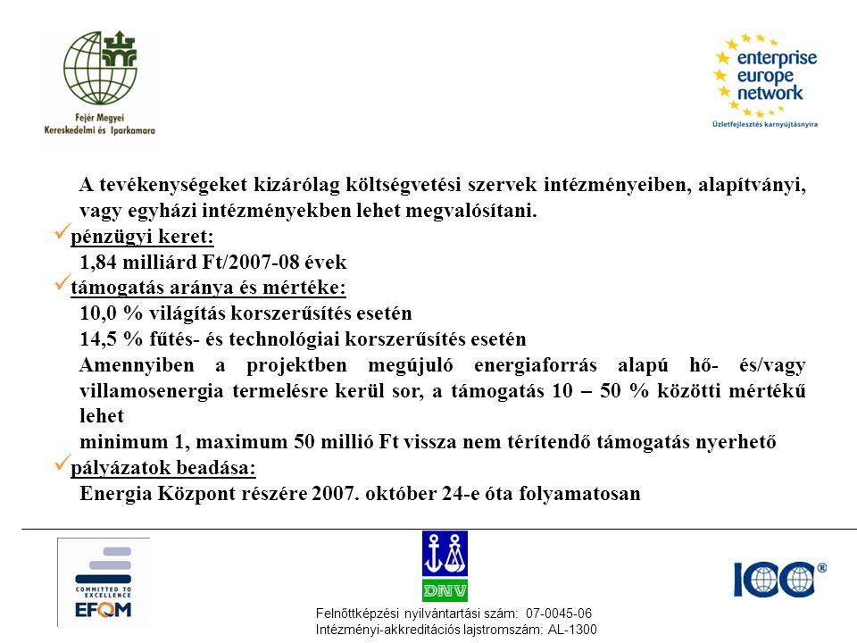 Felnőttképzési nyilvántartási szám: 07-0045-06 Intézményi-akkreditációs lajstromszám: AL-1300 A tevékenységeket kizárólag költségvetési szervek intézményeiben, alapítványi, vagy egyházi intézményekben lehet megvalósítani.