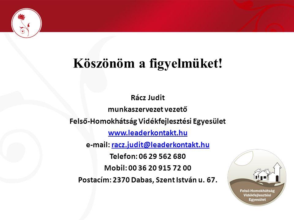 Köszönöm a figyelmüket! Rácz Judit munkaszervezet vezető Felső-Homokhátság Vidékfejlesztési Egyesület www.leaderkontakt.hu e-mail: racz.judit@leaderko