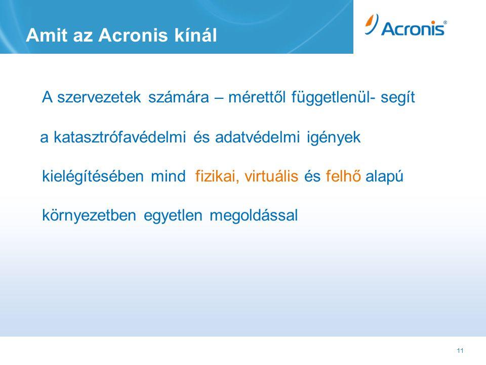 11 Amit az Acronis kínál A szervezetek számára – mérettől függetlenül- segít a katasztrófavédelmi és adatvédelmi igények kielégítésében mind fizikai, virtuális és felhő alapú környezetben egyetlen megoldással