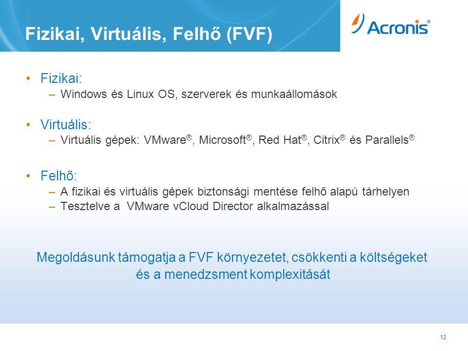 12 Fizikai, Virtuális, Felhő (FVF) •Fizikai: –Windows és Linux OS, szerverek és munkaállomások •Virtuális: –Virtuális gépek: VMware ®, Microsoft ®, Red Hat ®, Citrix ® és Parallels ® •Felhő: –A fizikai és virtuális gépek biztonsági mentése felhő alapú tárhelyen –Tesztelve a VMware vCloud Director alkalmazással Megoldásunk támogatja a FVF környezetet, csökkenti a költségeket és a menedzsment komplexitását