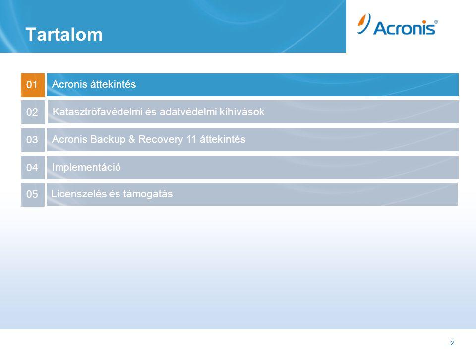 2 Tartalom Acronis áttekintés 01 Acronis Backup & Recovery 11 áttekintés 03 Implementáció 04 02 Katasztrófavédelmi és adatvédelmi kihívások Licenszelés és támogatás 05