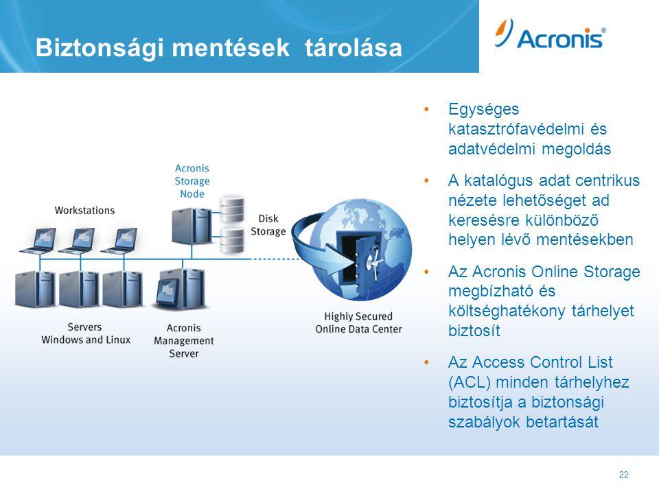 22 Biztonsági mentések tárolása •Egységes katasztrófavédelmi és adatvédelmi megoldás •A katalógus adat centrikus nézete lehetőséget ad keresésre különböző helyen lévő mentésekben •Az Acronis Online Storage megbízható és költséghatékony tárhelyet biztosít •Az Access Control List (ACL) minden tárhelyhez biztosítja a biztonsági szabályok betartását