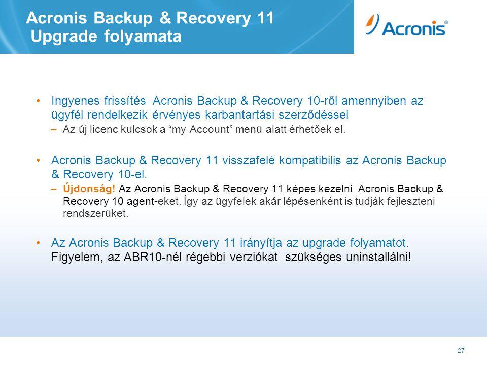 27 Acronis Backup & Recovery 11 Upgrade folyamata •Ingyenes frissítés Acronis Backup & Recovery 10-ről amennyiben az ügyfél rendelkezik érvényes karbantartási szerződéssel –Az új licenc kulcsok a my Account menü alatt érhetőek el.