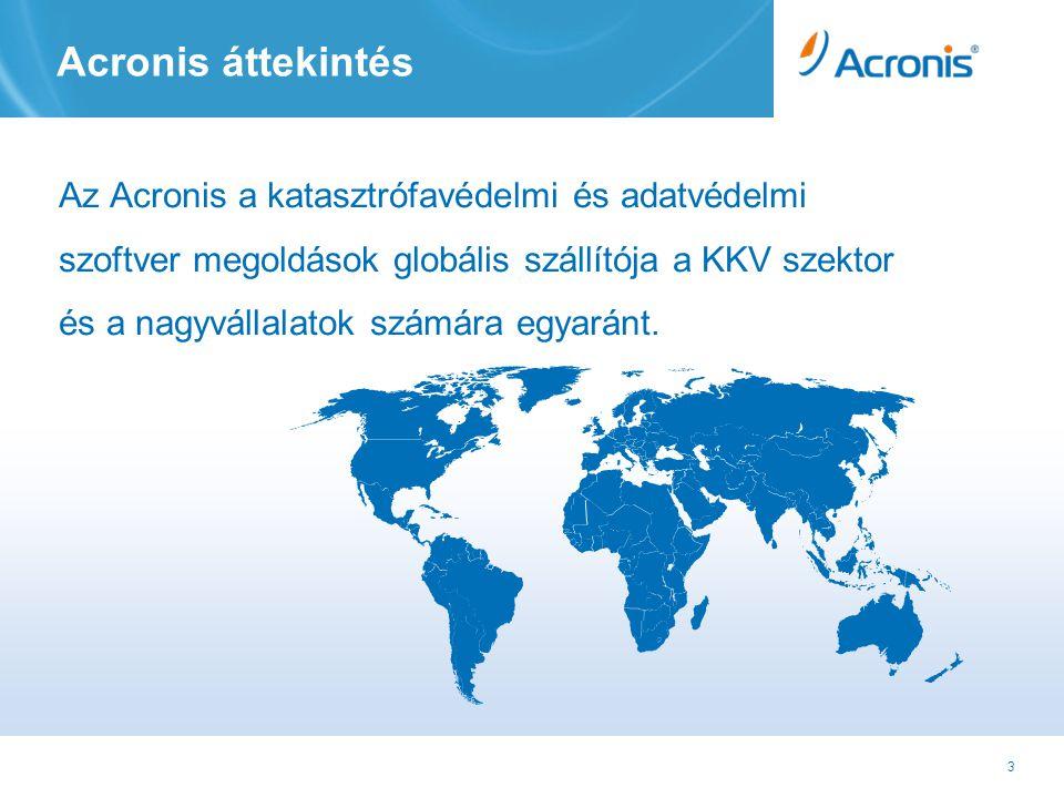 4 Acronis áttekintés Az Acronis mint vállalat •Alapítva 2002-ben •18 iroda világszerte •~700 alkalmazott (260+ in K&F) •Több mint 2.5 M eladott licensz 90 országban •Több mint 175.000 vállalati ügyfél •Lokalizáció 14 nyelven Alkalmazások • Mentés, adatvédelem és katasztrófa védelem • Virtualizáció és migráció • Tömeges szerver és munkaállomás üzembe helyezés Csatorna vezérelt értékesítés • 20,000 partner globálisan