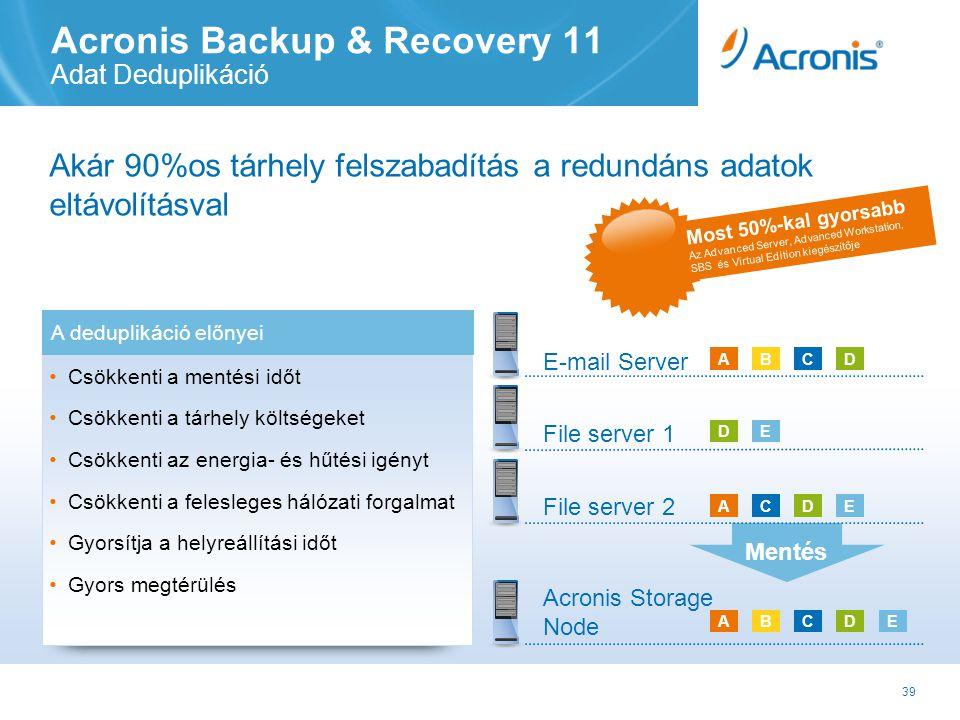 39 E-mail Server File server 1 Acronis Backup & Recovery 11 Adat Deduplikáció Akár 90%os tárhely felszabadítás a redundáns adatok eltávolításval Mentés ACDE Acronis Storage Node ABCD ED Most 50%-kal gyorsabb Az Advanced Server, Advanced Workstation, SBS és Virtual Edition kiegészítője B File server 2 ADEC A deduplikáció előnyei • Csökkenti a mentési időt • Csökkenti a tárhely költségeket • Csökkenti az energia- és hűtési igényt • Csökkenti a felesleges hálózati forgalmat • Gyorsítja a helyreállítási időt • Gyors megtérülés