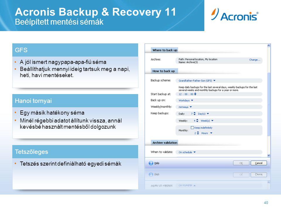 40 Acronis Backup & Recovery 11 Beéípített mentési sémák •A jól ismert nagypapa-apa-fiú séma •Beállíthatjuk mennyi ideig tartsuk meg a napi, heti, havi mentéseket.