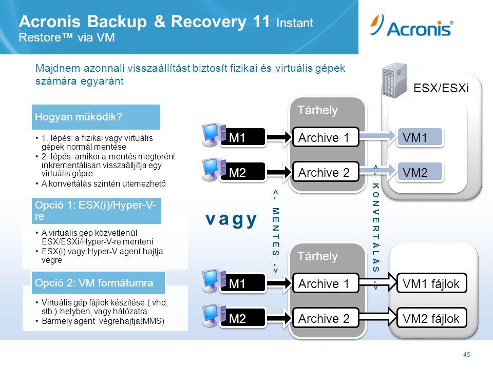 45 Tárhely Acronis Backup & Recovery 11 Instant Restore™ via VM ESX/ESXi Hypervisor VM1 VM2 M2 M1 Archive 1 Archive 2 Tárhely Net Share VM1 fájlok VM2 fájlok M2 M1 Archive 1 Archive 2 vagy •1.