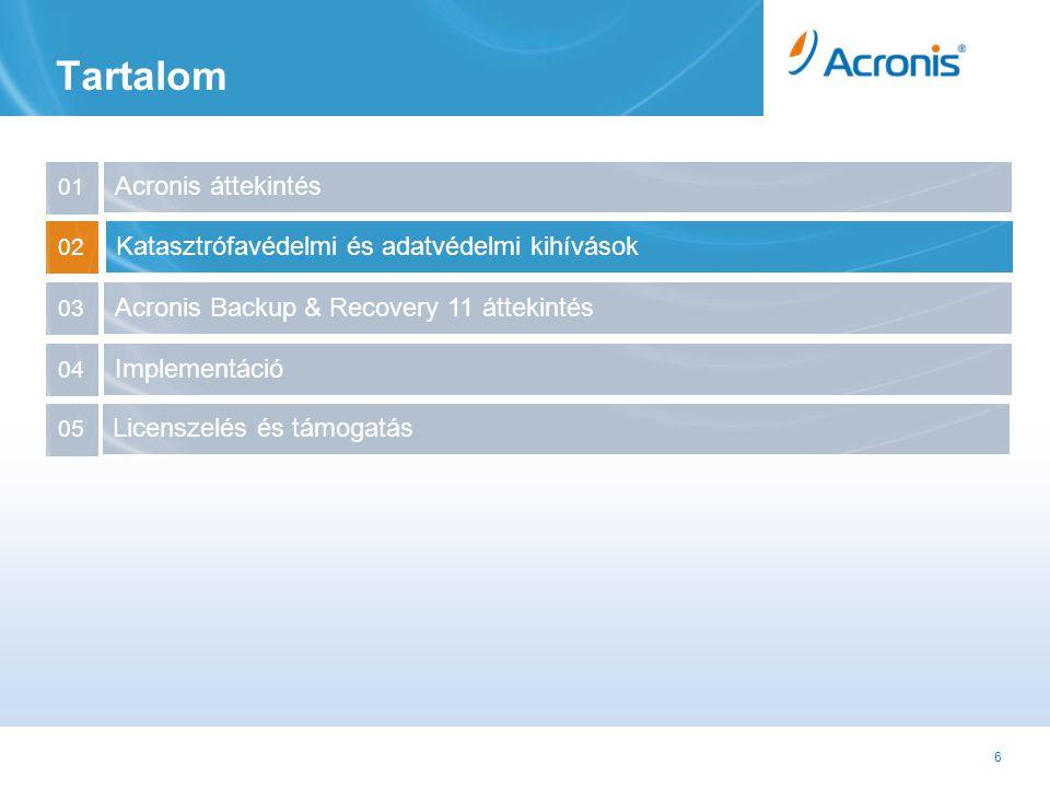 37 Acronis Backup & Recovery 11 Egyéb újdonságok Mentési tervek exportálása és importálása •Készítsünk egy mentési tervet egy géphez, exportáljuk egy fájlba és máris használhatjuk más gépeken is •Nincs szükség Acronis Management Server-re Vault jogosultságok •Acronis Storage Node-onként létrehozhatunk listát az adminisztrátorokról és felhasználókról Új hatásosabb parancssor interface •Hasznos a testreszabáshoz és az integrációhoz