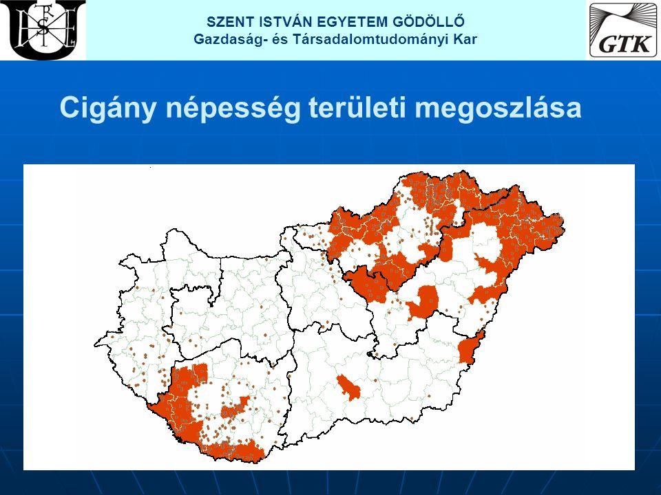 Cigány népesség területi megoszlása SZENT ISTVÁN EGYETEM GÖDÖLLŐ Gazdaság- és Társadalomtudományi Kar