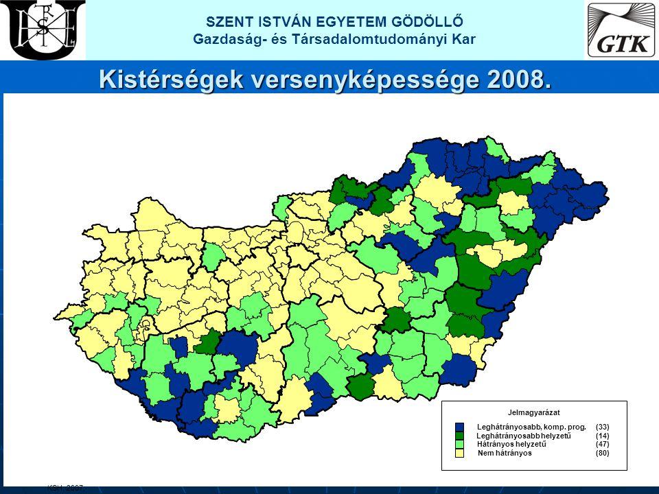 Jelmagyarázat Leghátrányosabb, komp. prog. (33) Leghátrányosabb helyzetű (14) Hátrányos helyzetű (47) Nem hátrányos (80) KSH, 2007, SZENT ISTVÁN EGYET