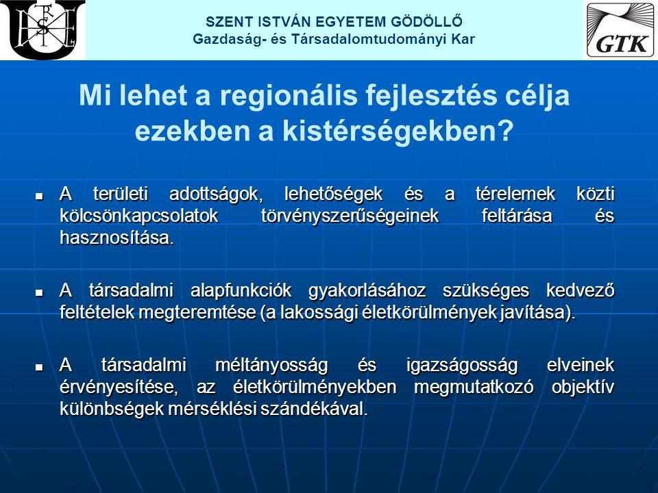 Mi lehet a regionális fejlesztés célja ezekben a kistérségekben?  A területi adottságok, lehetőségek és a térelemek közti kölcsönkapcsolatok törvénys
