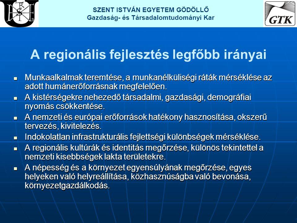 A regionális fejlesztés legfőbb irányai  Munkaalkalmak teremtése, a munkanélküliségi ráták mérséklése az adott humánerőforrásnak megfelelően.  A kis