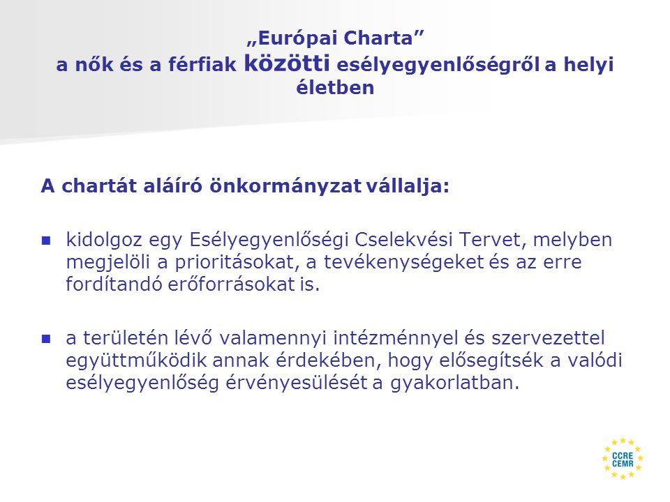 """""""Európai Charta a nők és a férfiak közötti esélyegyenlőségről a helyi életben A chartát aláíró önkormányzat vállalja:   kidolgoz egy Esélyegyenlőségi Cselekvési Tervet, melyben megjelöli a prioritásokat, a tevékenységeket és az erre fordítandó erőforrásokat is."""