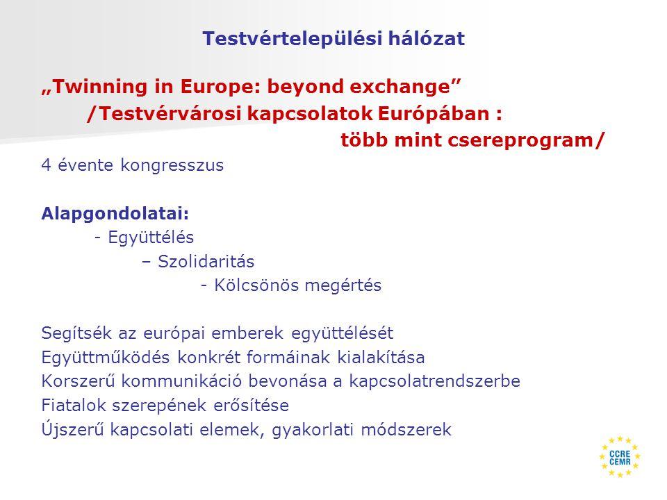 """Testvértelepülési hálózat """"Twinning in Europe: beyond exchange /Testvérvárosi kapcsolatok Európában : több mint csereprogram/ 4 évente kongresszus Alapgondolatai: - Együttélés – Szolidaritás - Kölcsönös megértés Segítsék az európai emberek együttélését Együttműködés konkrét formáinak kialakítása Korszerű kommunikáció bevonása a kapcsolatrendszerbe Fiatalok szerepének erősítése Újszerű kapcsolati elemek, gyakorlati módszerek"""