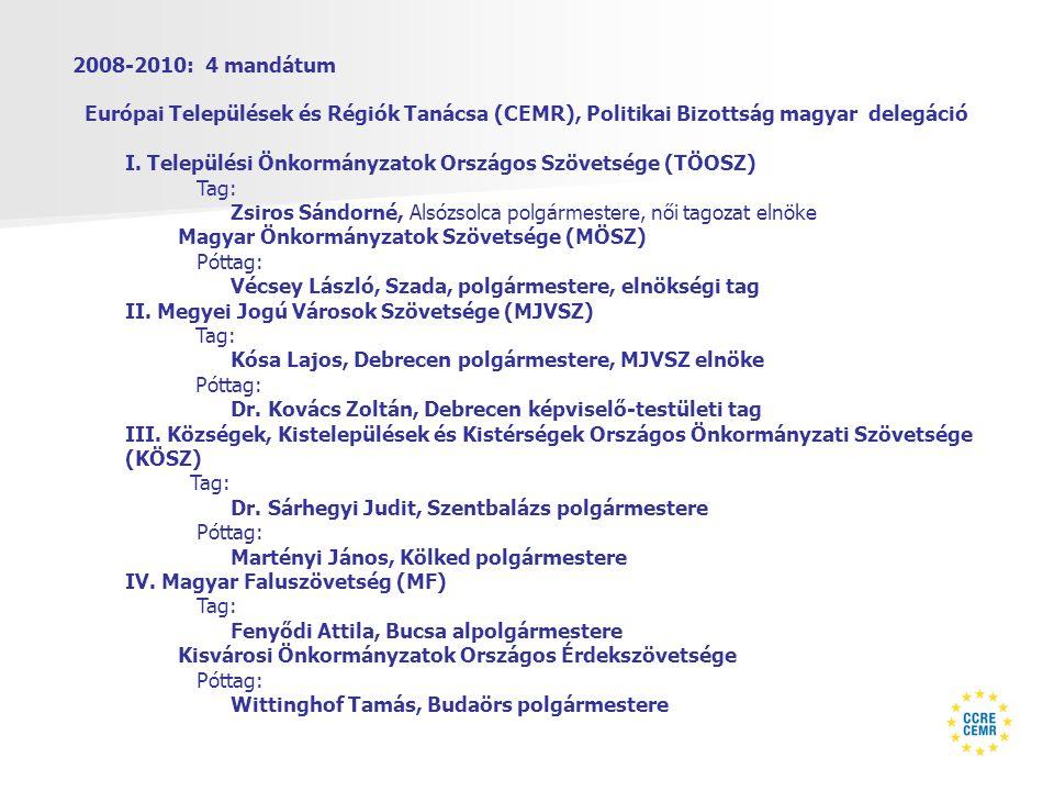 2008-2010: 4 mandátum Európai Települések és Régiók Tanácsa (CEMR), Politikai Bizottság magyar delegáció I.