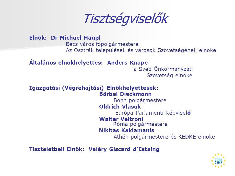 Tisztségviselők Elnök: Dr Michael Häupl Bécs város főpolgármestere Az Osztrák települések és városok Szövetségének elnöke Általános elnökhelyettes: Anders Knape a Svéd Önkormányzati Szövetség elnöke Igazgatási (Végrehajtási) Elnökhelyettesek: Bärbel Dieckmann Bonn polgármestere Oldrich Vlasak Európa Parlamenti Képviselő Walter Veltroni Róma polgármestere Nikitas Kaklamanis Athén polgármestere és KEDKE elnöke Tiszteletbeli Elnök: Valéry Giscard d Estaing