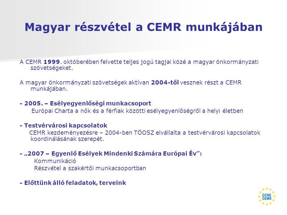 Magyar részvétel a CEMR munkájában A CEMR 1999.