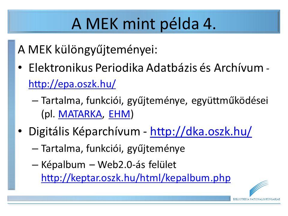 BIBLIOTHECA NATIONALIS HUNGARIAE A MEK mint példa 4.
