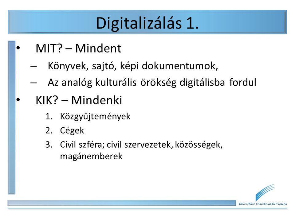 BIBLIOTHECA NATIONALIS HUNGARIAE Digitalizálás 2.• Közgyűjtemények, pl.