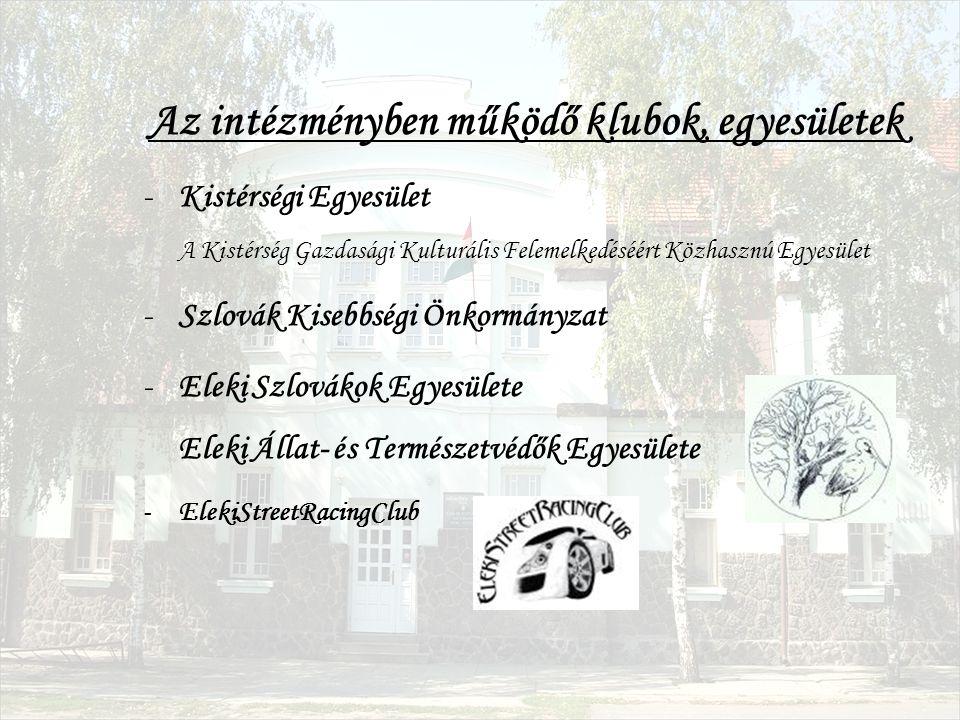 Az intézményben működő klubok, egyesületek -Kistérségi Egyesület A Kistérség Gazdasági Kulturális Felemelkedéséért Közhasznú Egyesület -Szlovák Kisebbségi Önkormányzat -Eleki Szlovákok Egyesülete Eleki Állat- és Természetvédők Egyesülete -ElekiStreetRacingClub