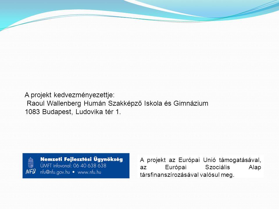 A projekt kedvezményezettje: Raoul Wallenberg Humán Szakképző Iskola és Gimnázium 1083 Budapest, Ludovika tér 1.