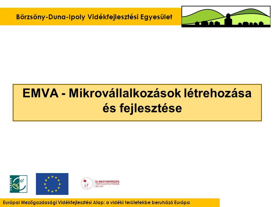 EMVA - Mikrovállalkozások létrehozása és fejlesztése Börzsöny-Duna-Ipoly Vidékfejlesztési Egyesület Európai Mezőgazdasági Vidékfejlesztési Alap: a vidéki területekbe beruházó Európa