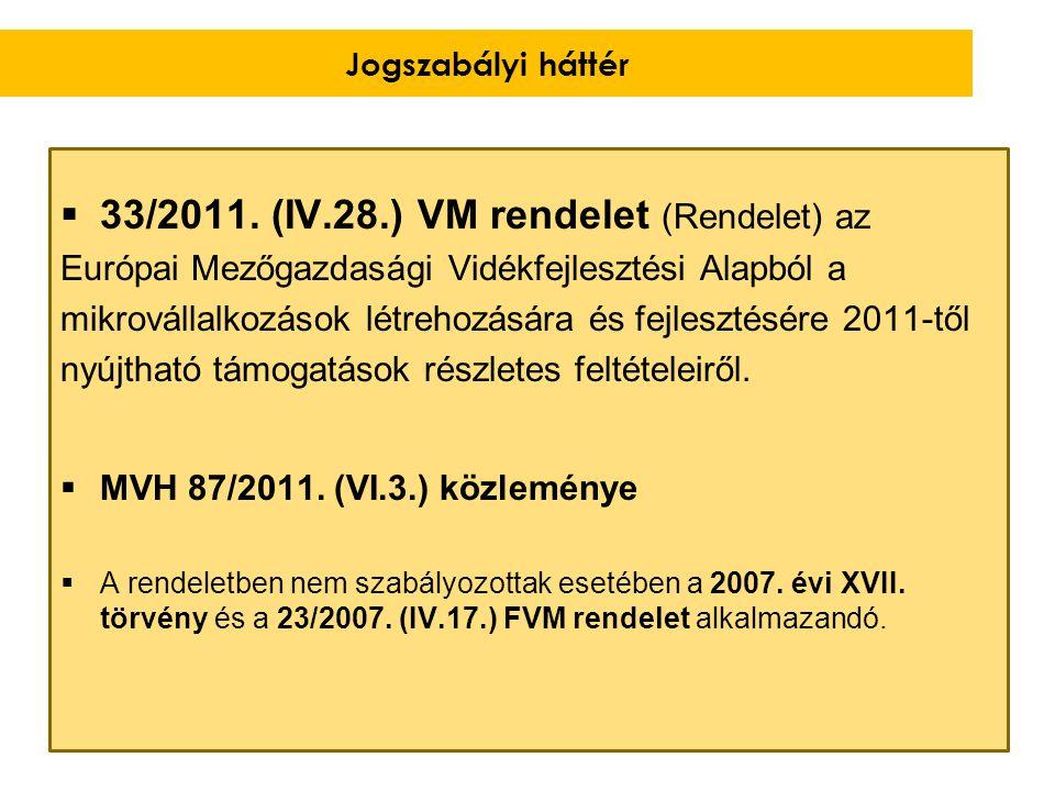  33/2011. (IV.28.) VM rendelet (Rendelet) az Európai Mezőgazdasági Vidékfejlesztési Alapból a mikrovállalkozások létrehozására és fejlesztésére 2011-