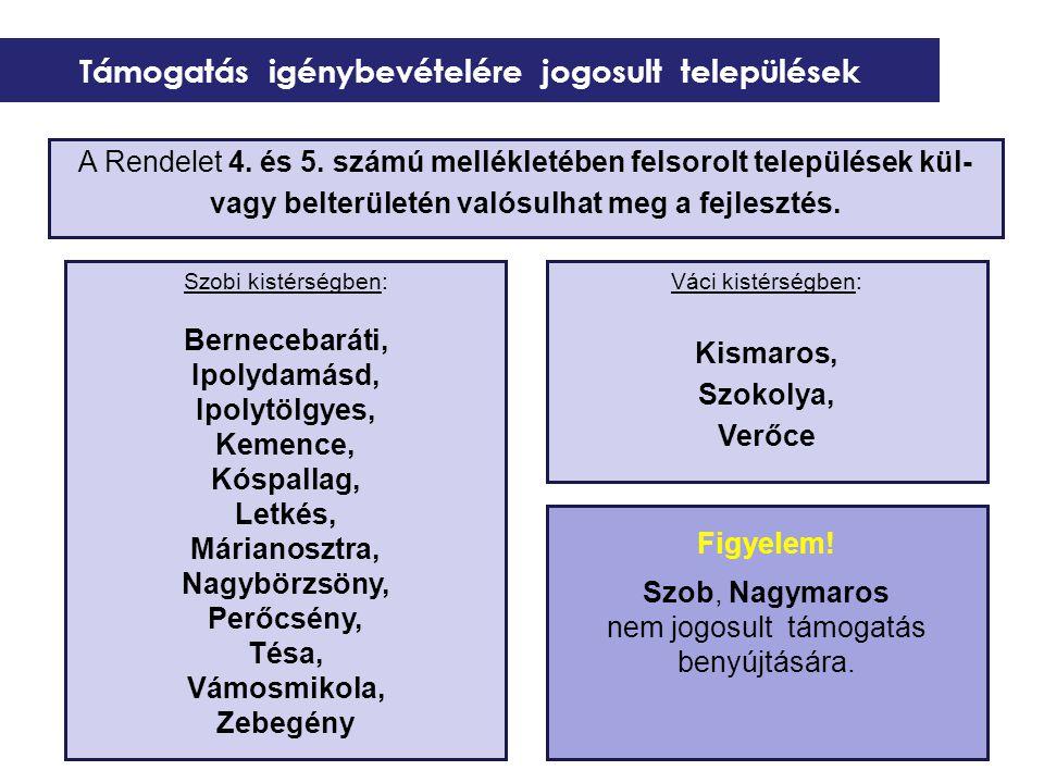 Támogatás igénybevételére jogosult települések Szobi kistérségben: Bernecebaráti, Ipolydamásd, Ipolytölgyes, Kemence, Kóspallag, Letkés, Márianosztra, Nagybörzsöny, Perőcsény, Tésa, Vámosmikola, Zebegény Váci kistérségben: Kismaros, Szokolya, Verőce A Rendelet 4.