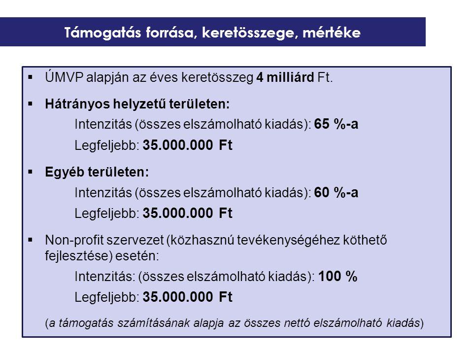  ÚMVP alapján az éves keretösszeg 4 milliárd Ft.  Hátrányos helyzetű területen: Intenzitás (összes elszámolható kiadás): 65 %-a Legfeljebb: 35.000.0