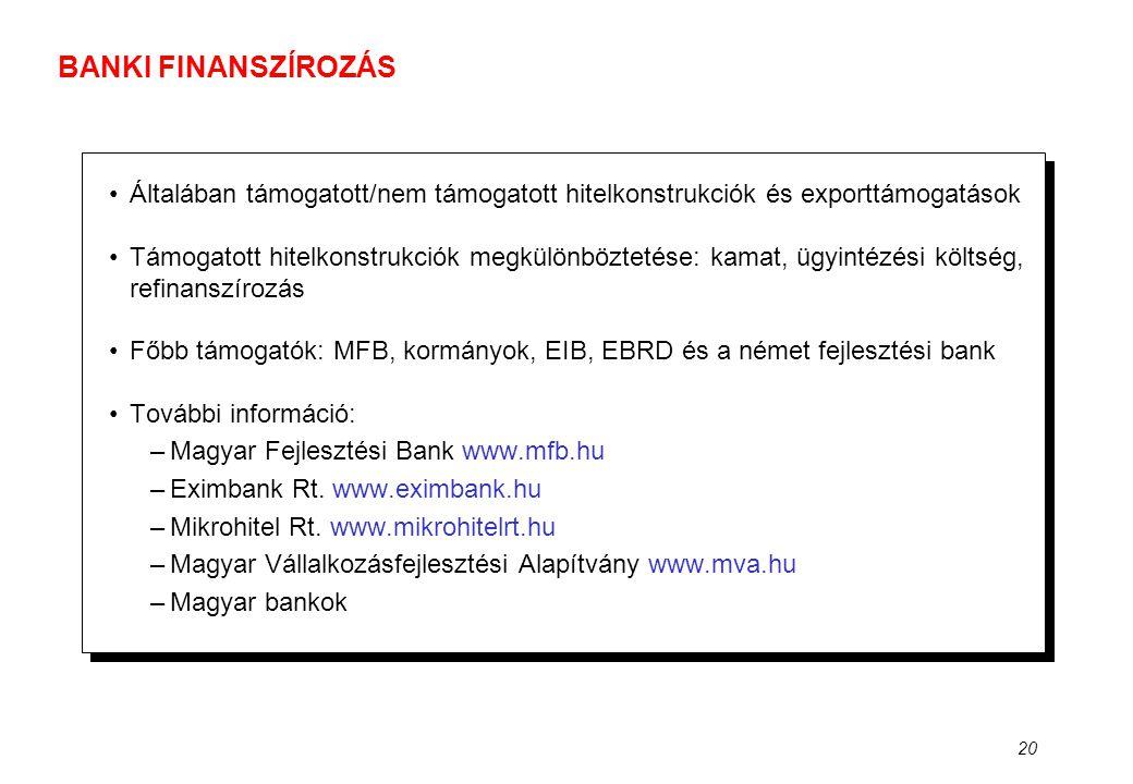 20 BANKI FINANSZÍROZÁS •Általában támogatott/nem támogatott hitelkonstrukciók és exporttámogatások •Támogatott hitelkonstrukciók megkülönböztetése: ka