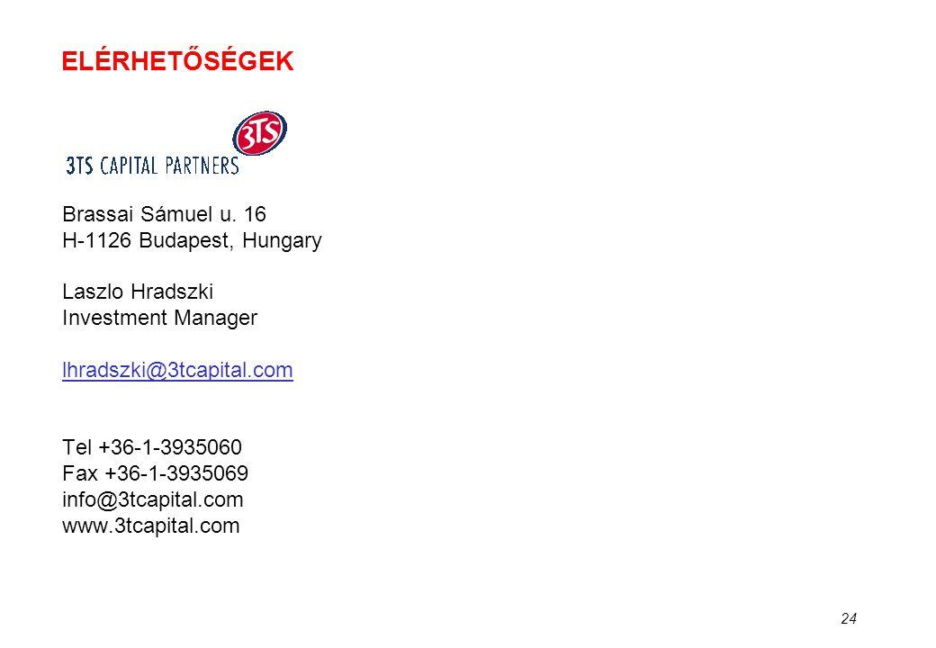 24 ELÉRHETŐSÉGEK Brassai Sámuel u. 16 H-1126 Budapest, Hungary Laszlo Hradszki Investment Manager lhradszki@3tcapital.com Tel +36-1-3935060 Fax +36-1-