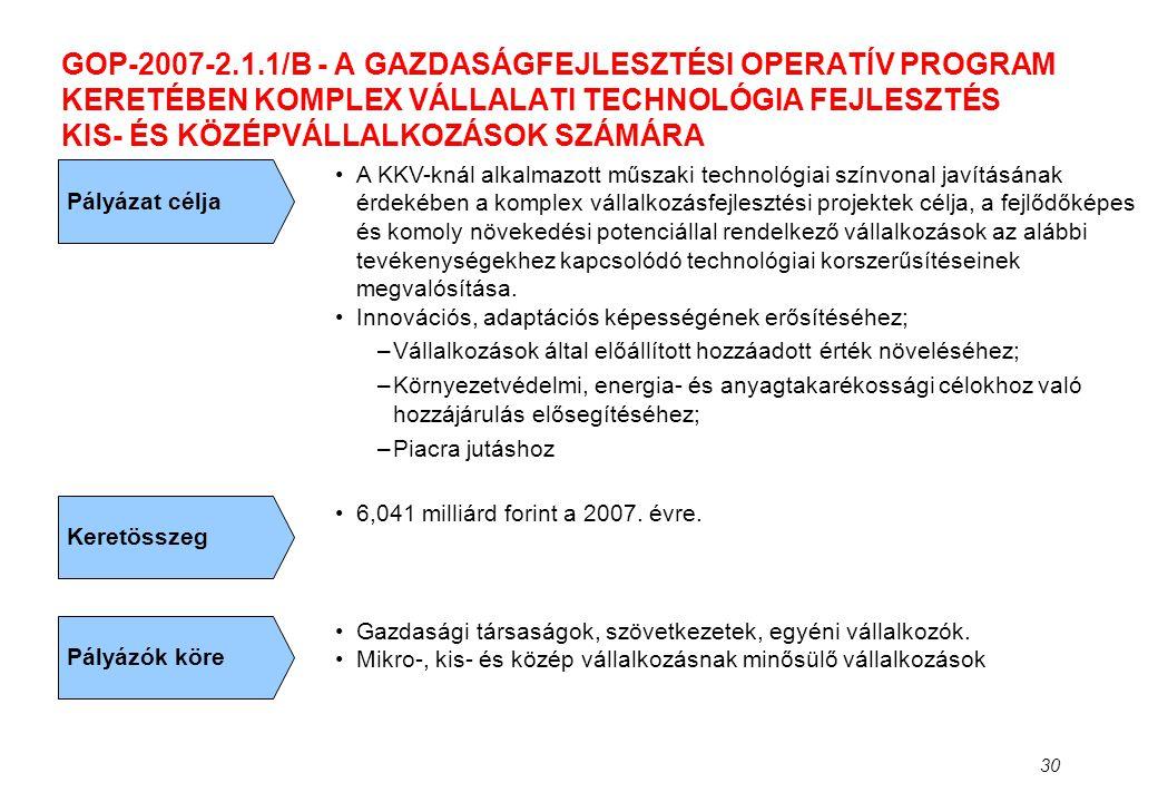 30 GOP-2007-2.1.1/B - A GAZDASÁGFEJLESZTÉSI OPERATÍV PROGRAM KERETÉBEN KOMPLEX VÁLLALATI TECHNOLÓGIA FEJLESZTÉS KIS- ÉS KÖZÉPVÁLLALKOZÁSOK SZÁMÁRA Pál
