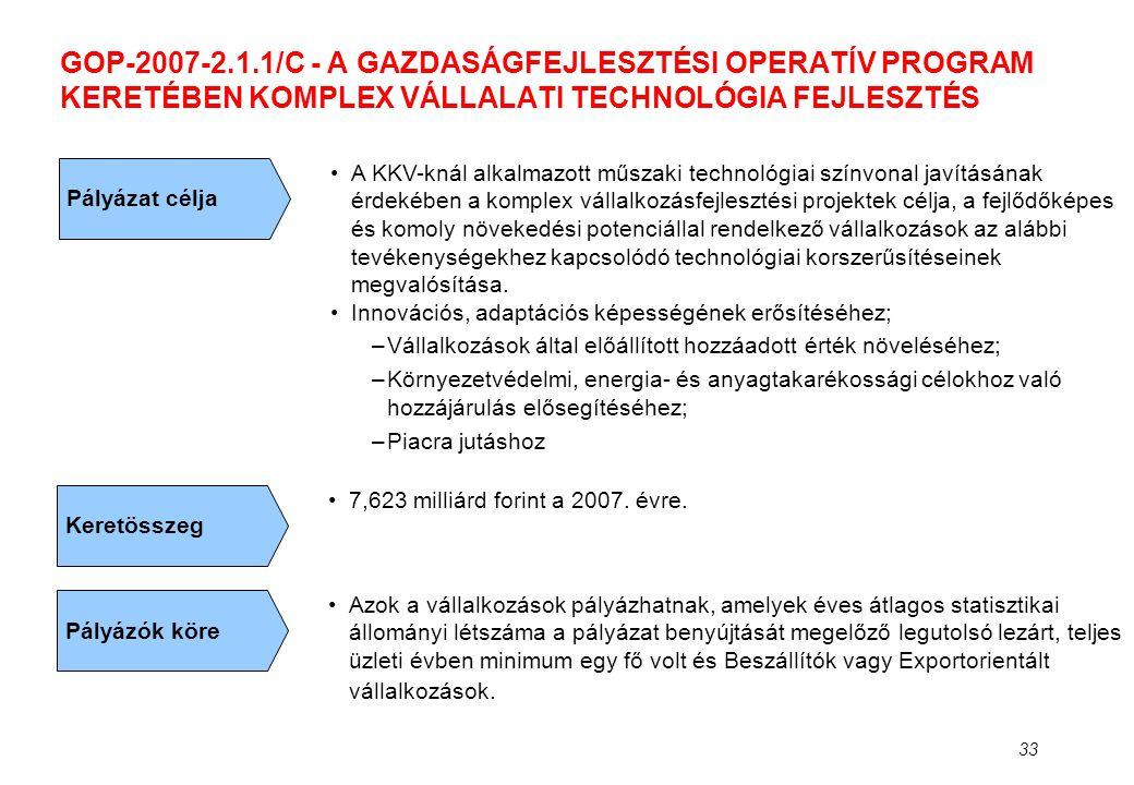 33 GOP-2007-2.1.1/C - A GAZDASÁGFEJLESZTÉSI OPERATÍV PROGRAM KERETÉBEN KOMPLEX VÁLLALATI TECHNOLÓGIA FEJLESZTÉS Pályázat célja •A KKV-knál alkalmazott